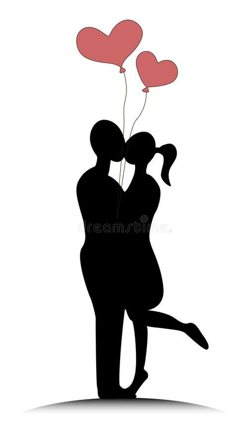 Coppie con i baloons in forma di cuore immagini stock