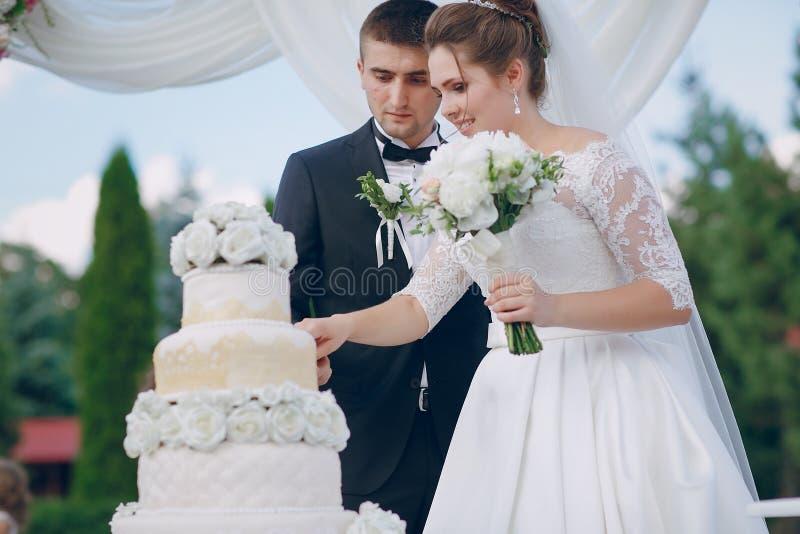 Coppie con la torta nunziale fotografia stock