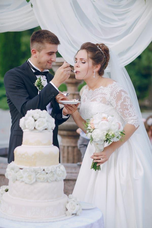 Coppie con la torta nunziale fotografia stock libera da diritti