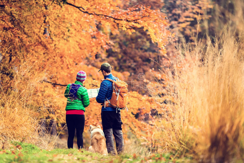 Coppie d'annata del instagram che fanno un'escursione nella foresta di autunno fotografia stock libera da diritti