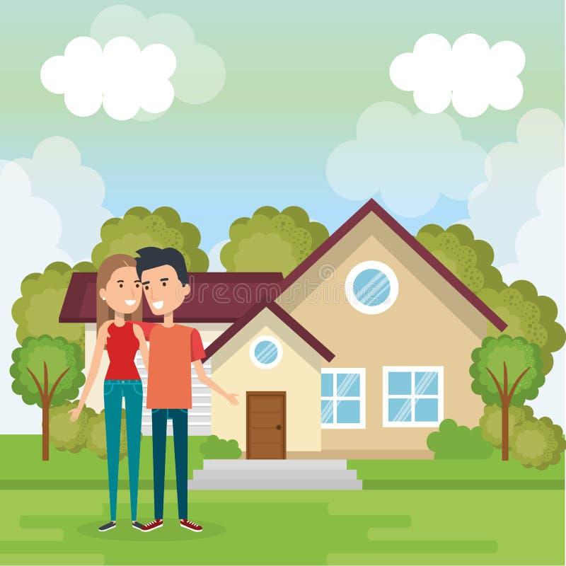 Coppie degli amanti fuori casa royalty illustrazione gratis