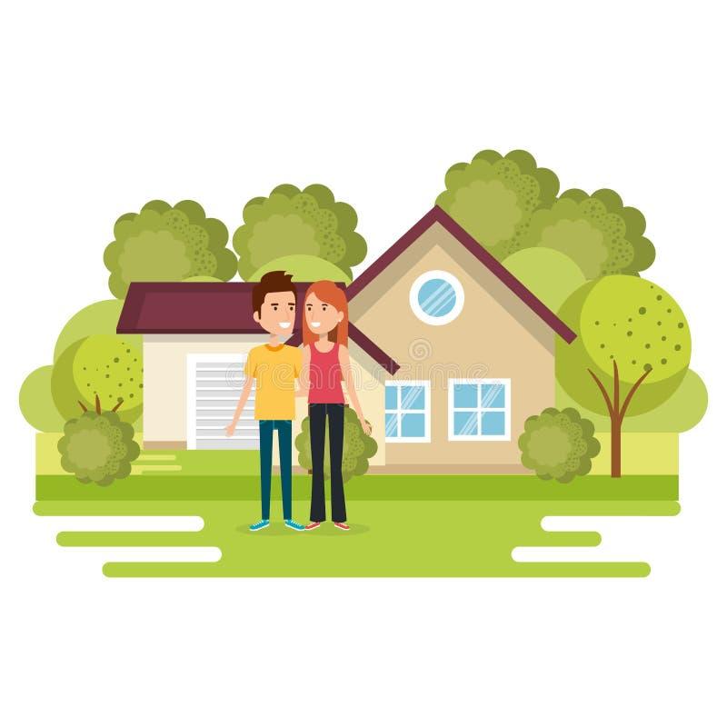 Coppie degli amanti fuori casa illustrazione di stock