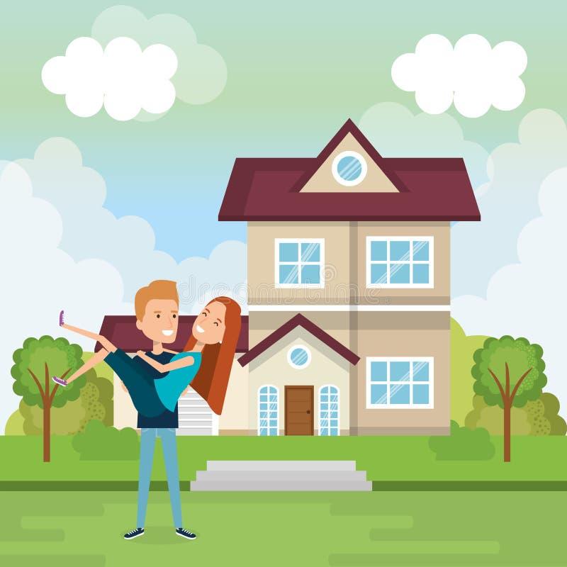 Coppie degli amanti fuori casa illustrazione vettoriale