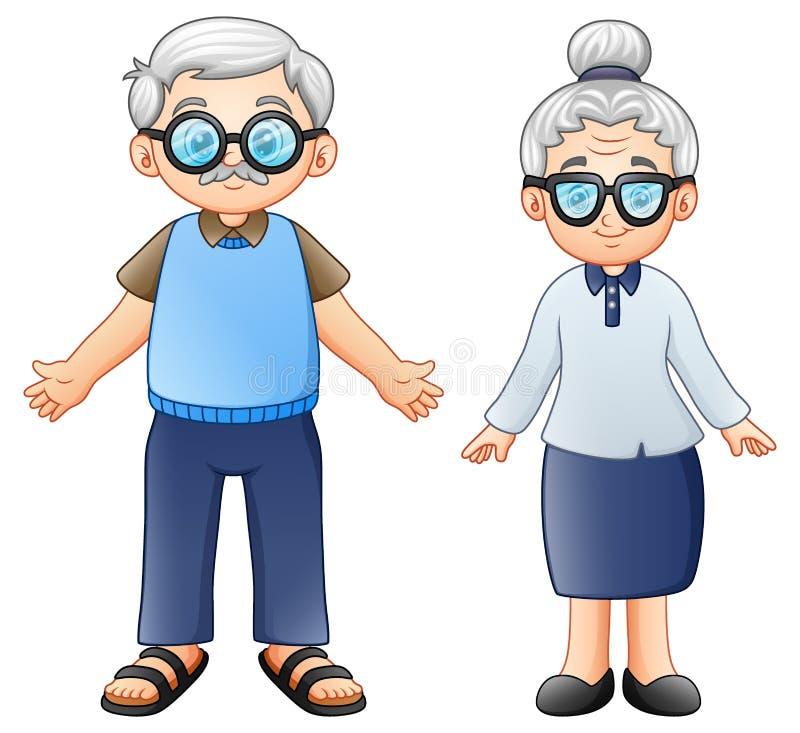 Coppie degli anziani del fumetto illustrazione vettoriale