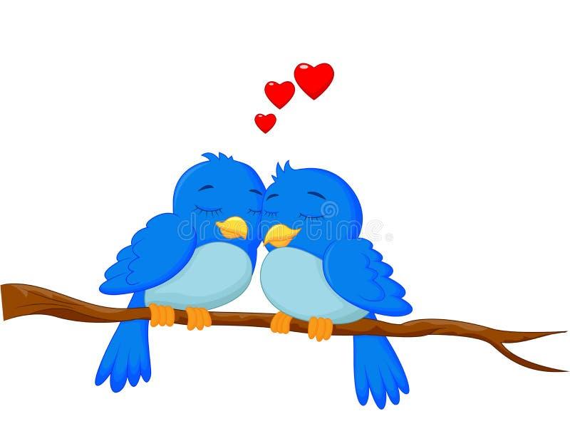 Coppie degli uccelli del fumetto nell'amore illustrazione vettoriale