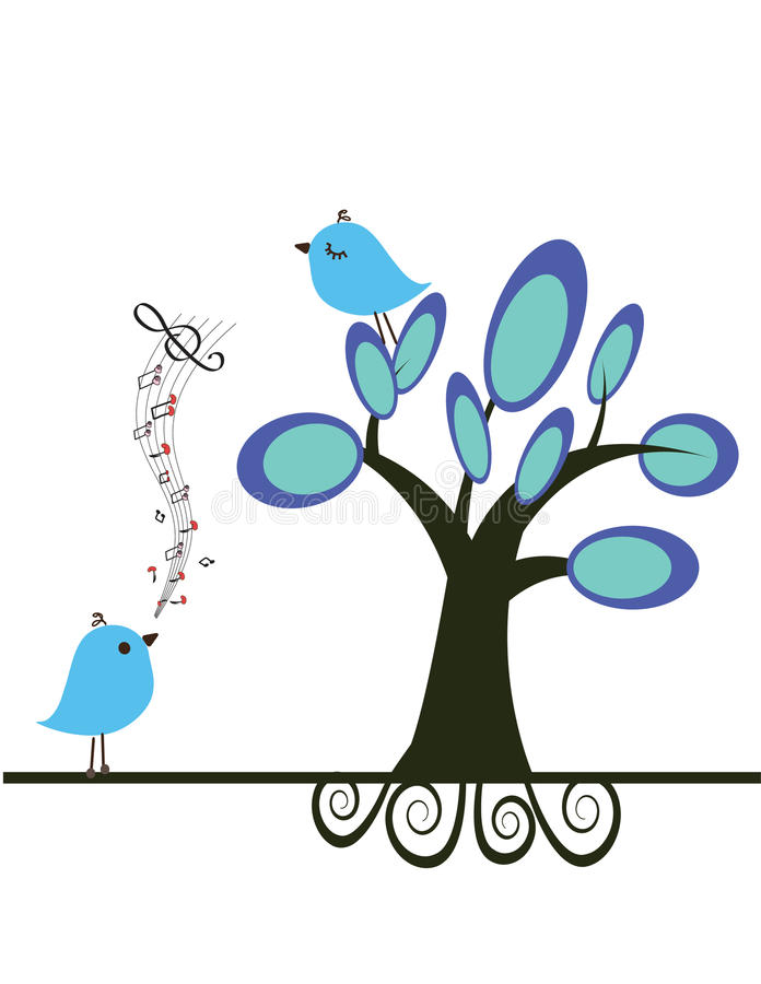 Coppie degli uccelli di amore sotto l'albero royalty illustrazione gratis