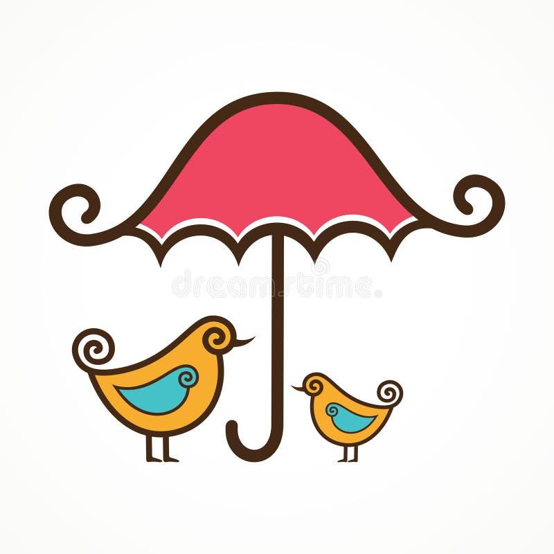 Coppie degli uccelli svegli sotto l'ombrello rosa illustrazione vettoriale