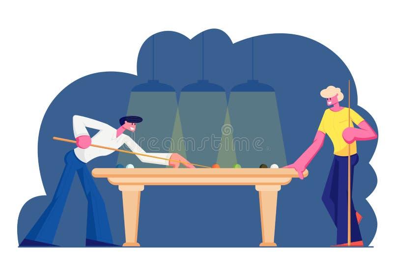 Coppie dei caratteri maschii che giocano snooker, tendenti stecca alla palla sulla Tabella verde del panno Gioco del biliardo, co royalty illustrazione gratis