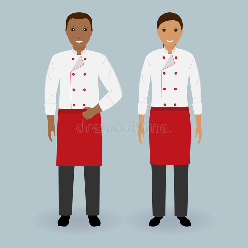 Coppie dei cuochi unici maschii e femminili che stanno insieme in uniforme Cottura dei caratteri dell'alimento Concetto del grupp royalty illustrazione gratis