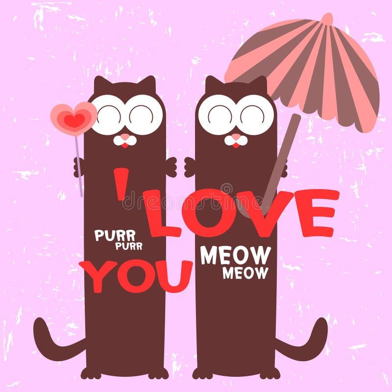 Coppie dei gatti nell'amore illustrazione di stock