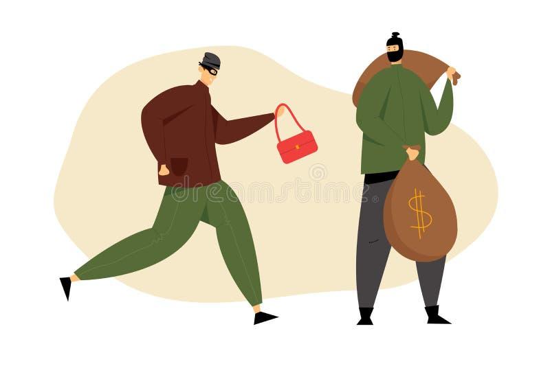 Coppie dei ladri mascherati con i sacchi rubati della borsa e dei soldi della donna, rapina in banca dai criminali Violenza dei g royalty illustrazione gratis