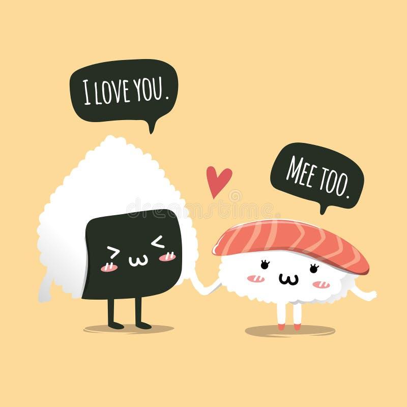 Coppie dei sushi che si tengono per mano nel giorno di S. Valentino royalty illustrazione gratis