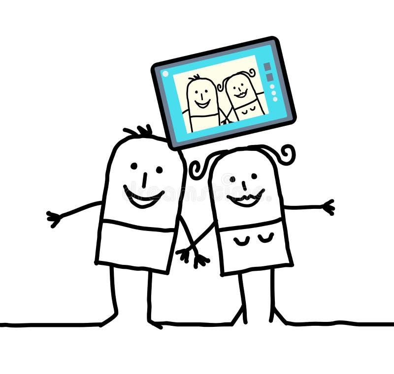 Coppie del fumetto che inviano un'immagine se stessi illustrazione di stock