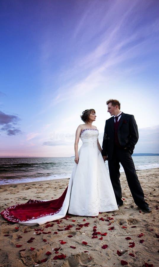 Coppie del Newlywed sulla spiaggia immagine stock