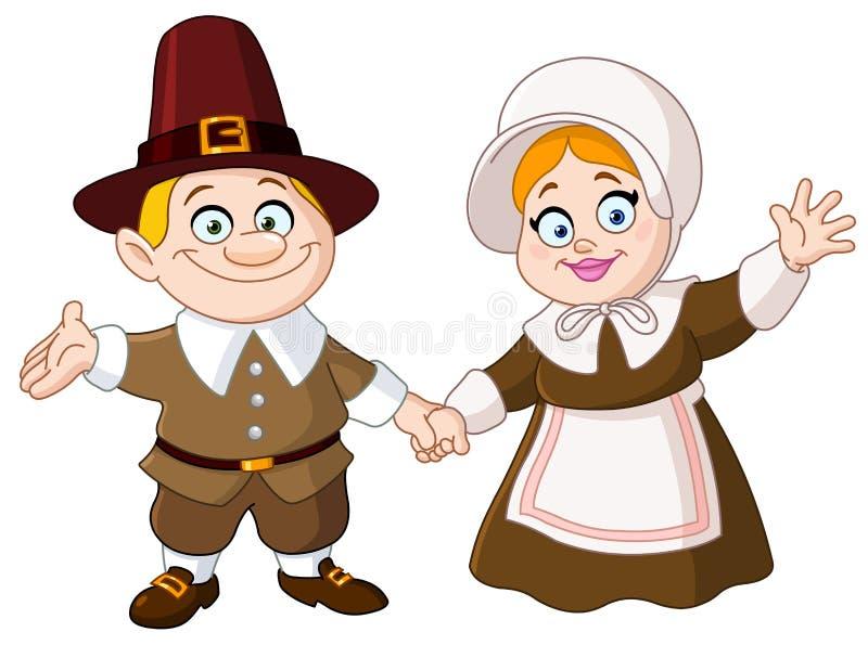 Coppie del pellegrino illustrazione vettoriale
