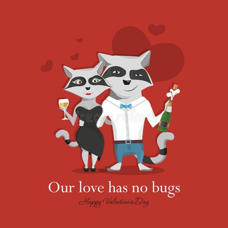 Coppie del procione nell'amore che celebra la tenuta di giorno del ` s del biglietto di S. Valentino nelle zampe di champagne e d illustrazione di stock
