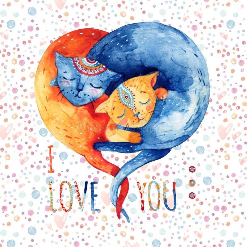 Coppie dell'acquerello i gatti adorabili su fondo con le bolle, punti, cuori illustrazione di stock