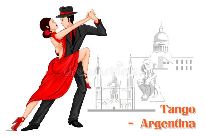 Coppie dell'Argentina che eseguono ballo di tango dell'Argentina illustrazione vettoriale