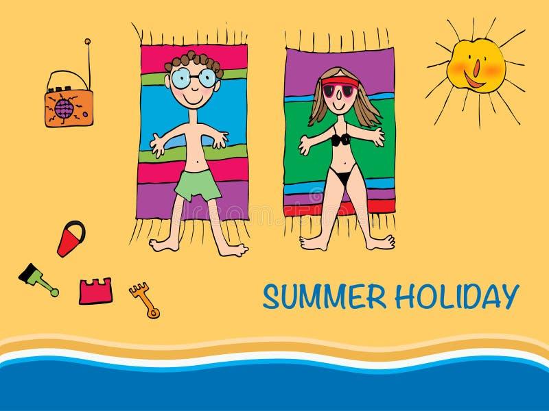 Coppie dell'illustrazione di vettore giovani che si trovano su una spiaggia royalty illustrazione gratis