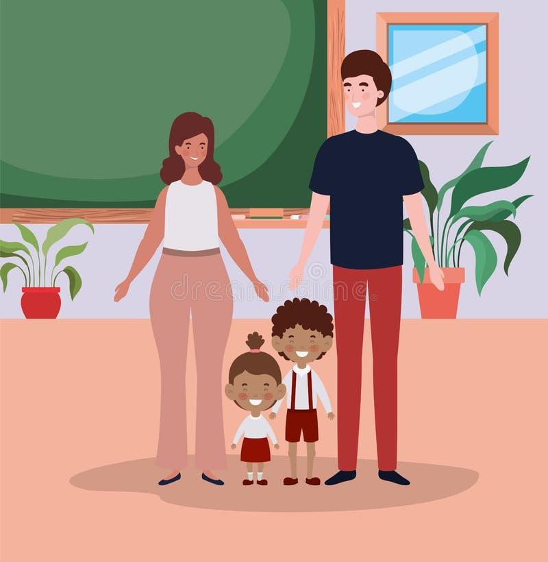 Coppie dell'insegnante con i piccoli bambini degli studenti nell'aula illustrazione di stock