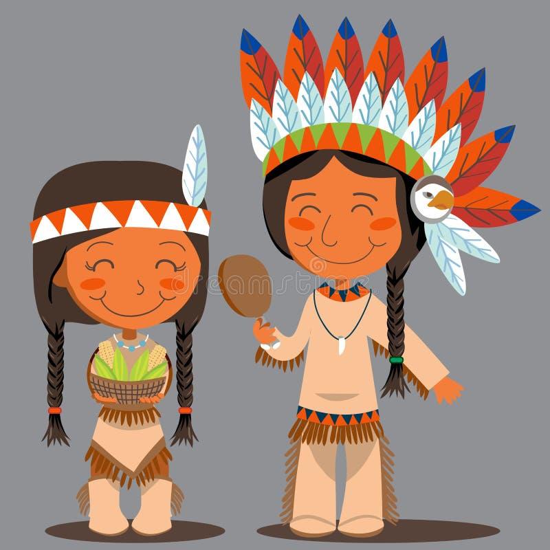 Coppie dell'nativo americano di giorno di ringraziamento