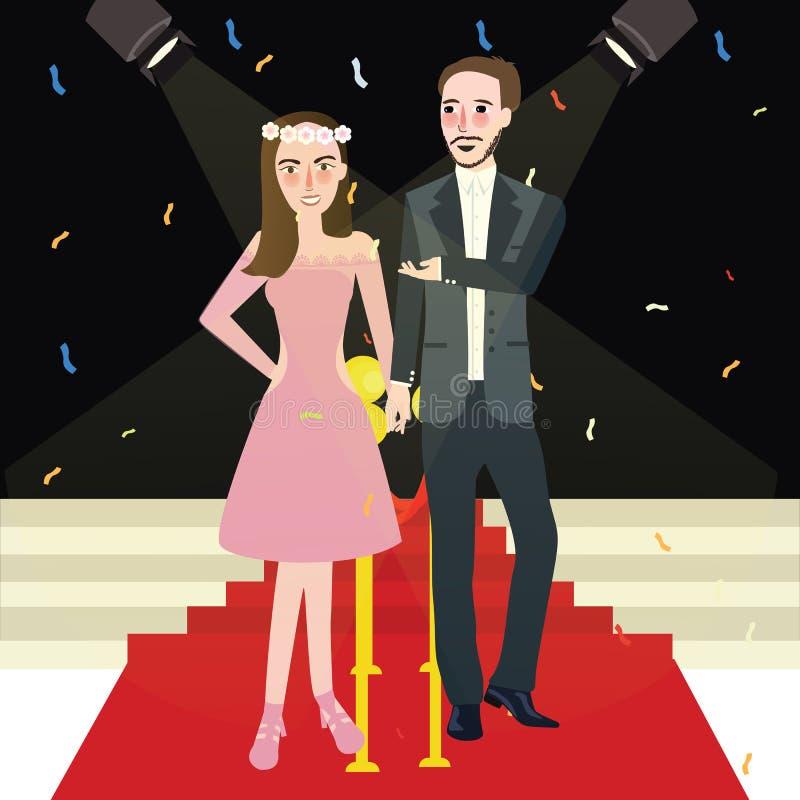 Coppie della donna e dell'uomo nella notte di promenade di galà del tappeto rosso royalty illustrazione gratis