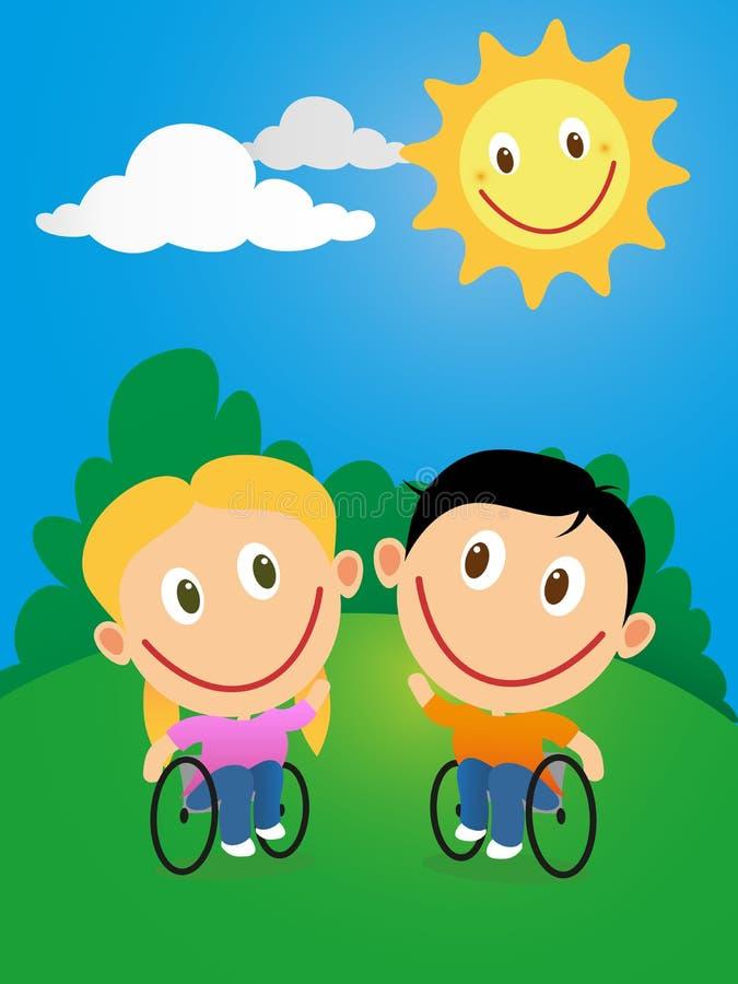 Coppie della sedia a rotelle i bambini illustrazione di stock