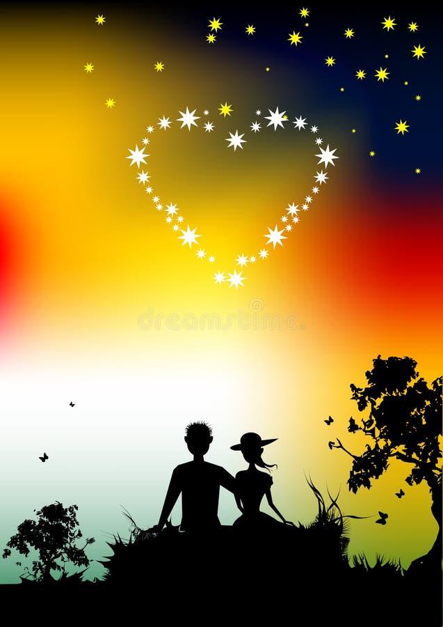 Coppie della siluetta degli amanti, tramonto in natura illustrazione di stock