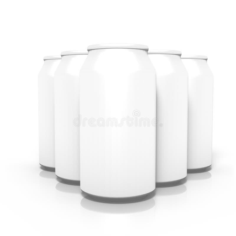 Coppie delle latte in bianco della bevanda, isolate su fondo bianco illustrazione di stock