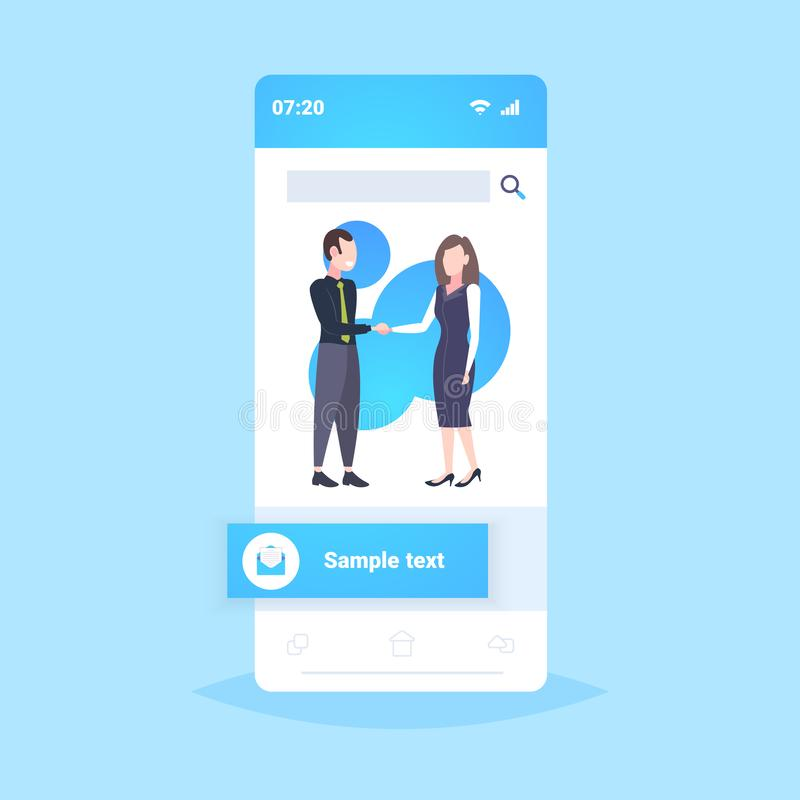 Coppie delle persone di affari che stringono lo smartphone di concetto di associazione di accordo della stretta di mano dei soci  illustrazione vettoriale