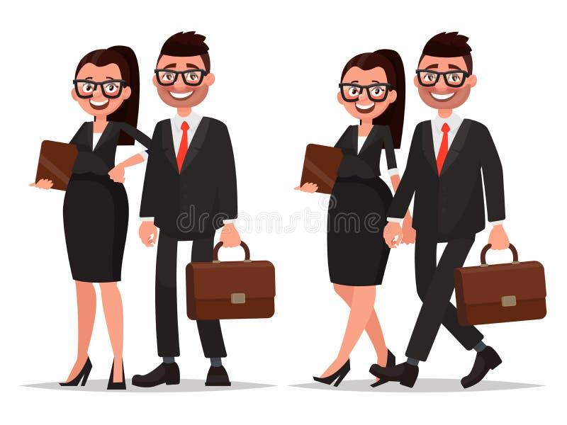Coppie di affari Uomo d'affari e donna di affari dei caratteri sul whi illustrazione vettoriale