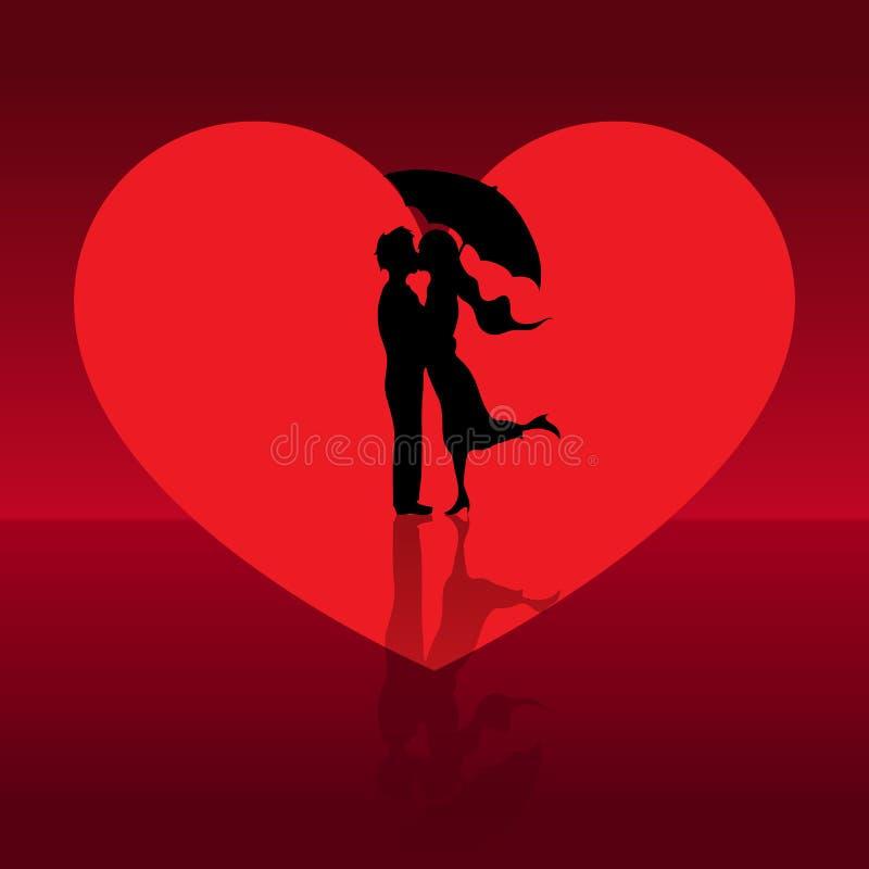 Coppie di amore nel giorno di biglietti di S. Valentino illustrazione di stock
