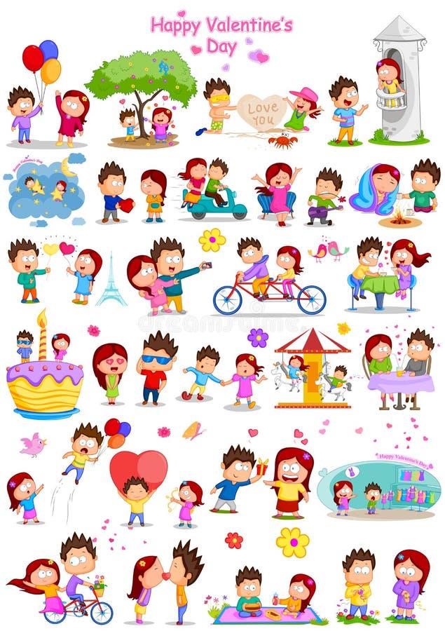 Coppie di amore nel San Valentino illustrazione vettoriale
