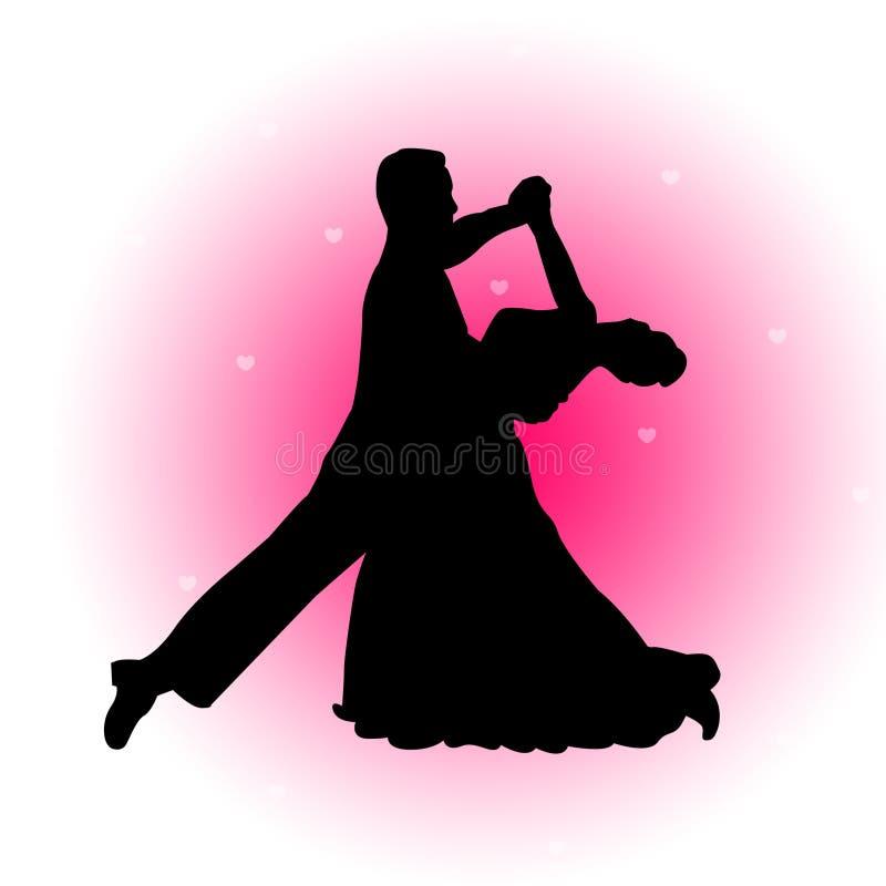 Coppie di Dancing con la priorità bassa dei cuori royalty illustrazione gratis