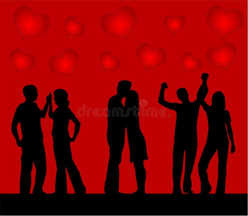 Coppie di Dancing, priorità bassa dei cuori royalty illustrazione gratis