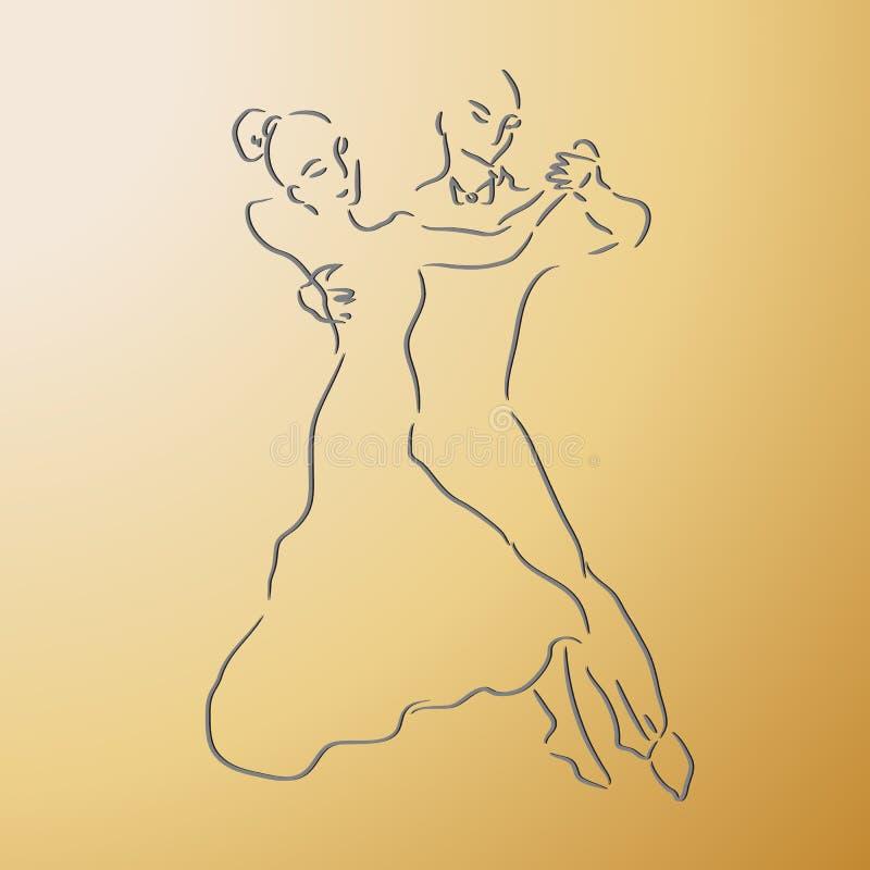 Coppie di dancing su un fondo dell'oro illustrazione di stock