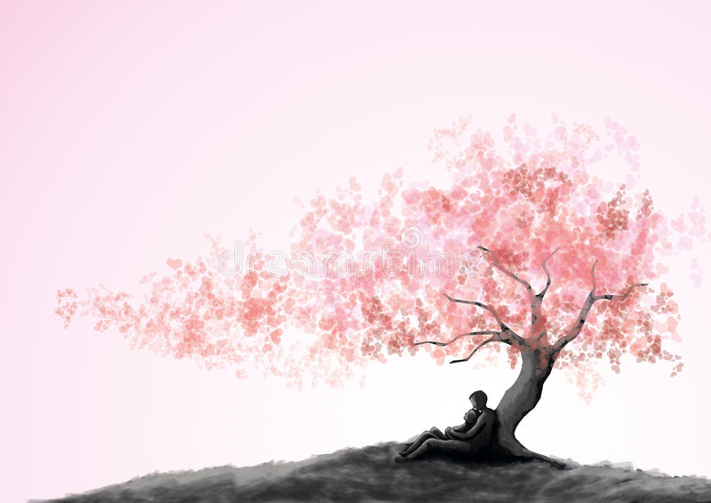 Coppie di datazione sotto un albero di amore illustrazione di stock