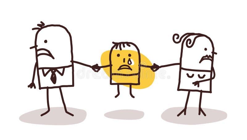 Coppie di divorzio con il bambino triste royalty illustrazione gratis