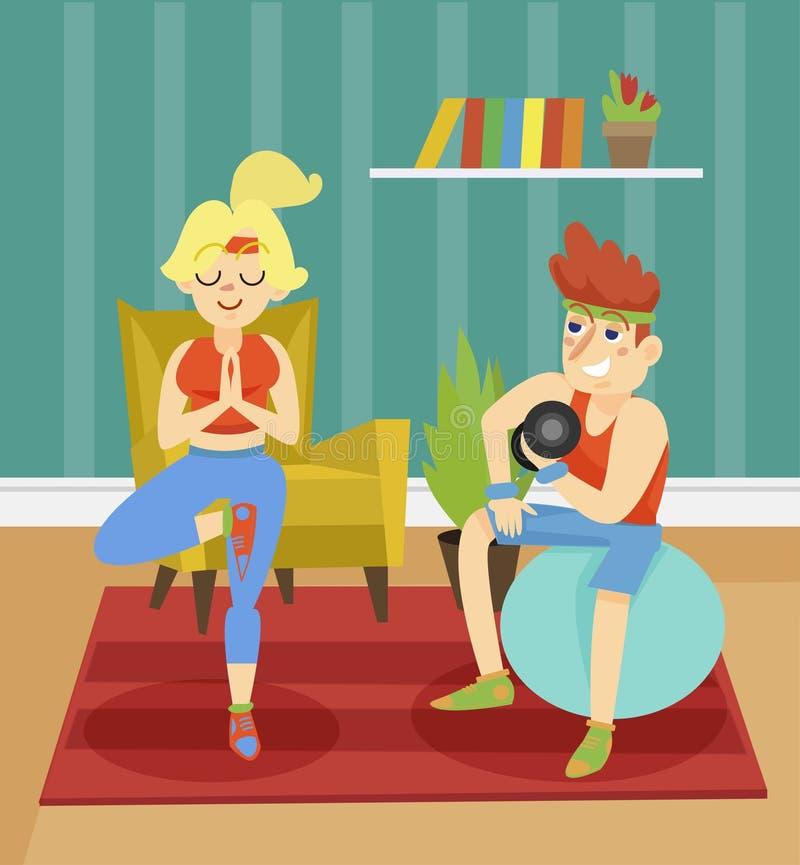 Coppie di forma fisica che esercitano insieme a casa l'illustrazione dell'interno di vettore nello stile del fumetto royalty illustrazione gratis