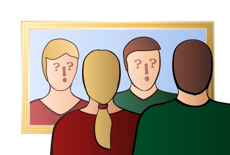 Coppie di mancanza di fiducia chi sono noi specchio reciproco degli sconosciuti illustrazione di stock