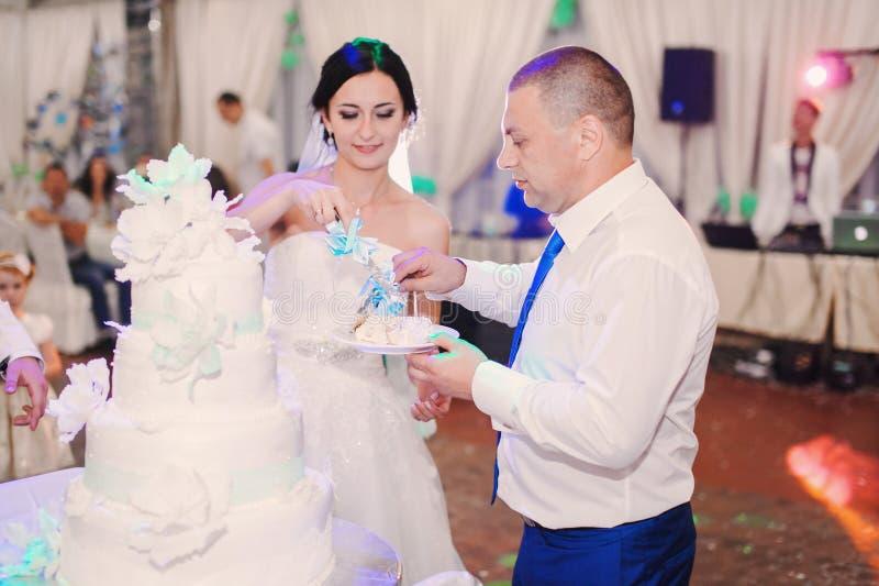 Coppie di nozze che mangiano dolce immagine stock