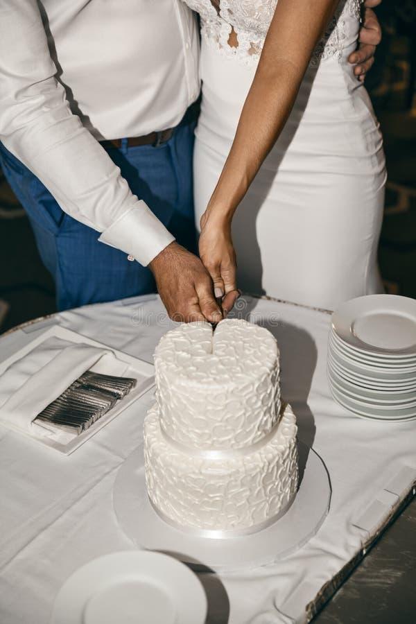 Coppie di nozze che tagliano dolce dell'interno immagine stock