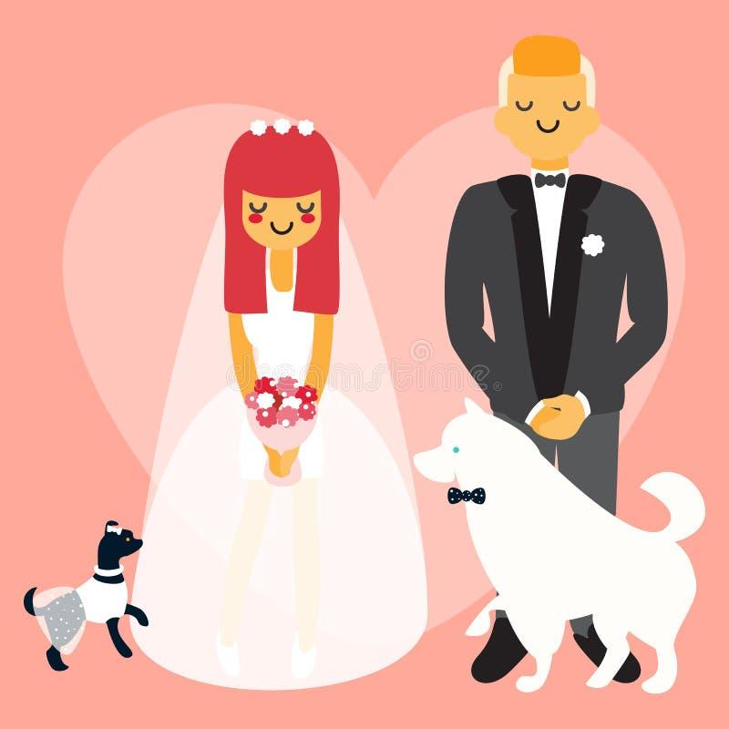 Coppie di nozze con i cani I caratteri della gente del fumetto di vettore nello stile piano progettano royalty illustrazione gratis