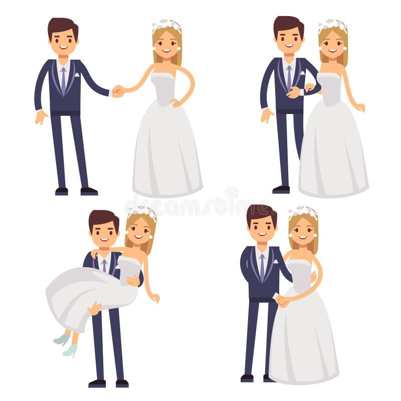Coppie di nozze del fumetto Appena caratteri sposati di vettore illustrazione vettoriale