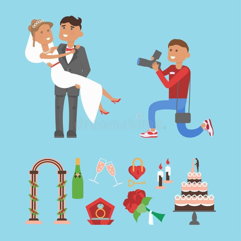 Coppie di nozze e caratteri del fotografo royalty illustrazione gratis