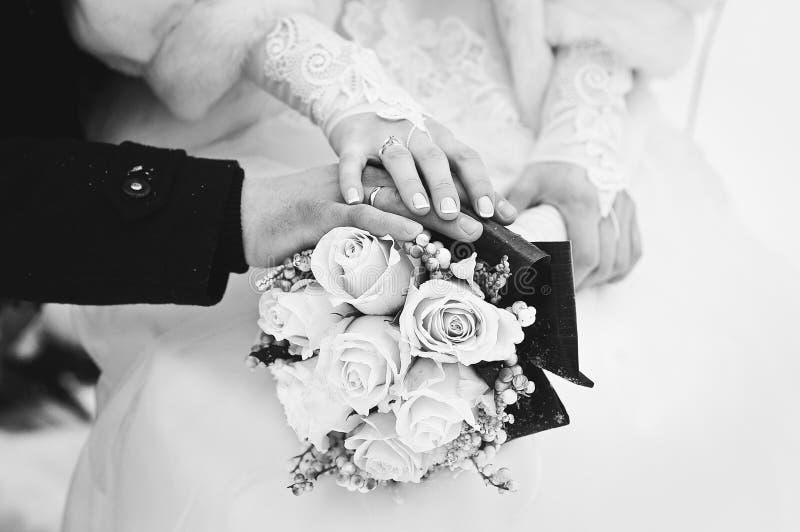 Coppie di nozze nell'inverno immagini stock libere da diritti