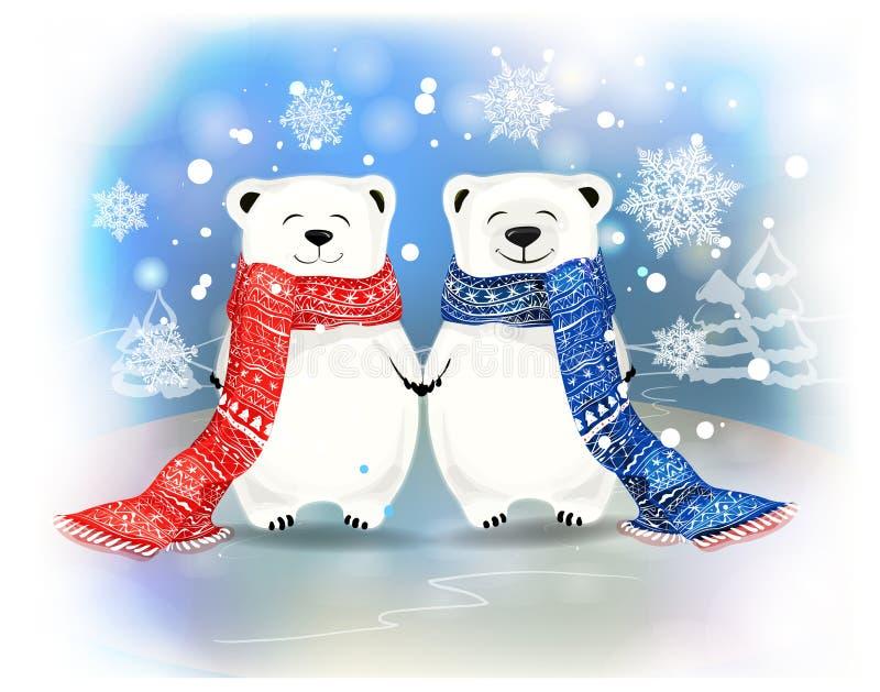 Coppie di piccoli orsi bianchi con i fiocchi di neve Concetto di Natale illustrazione di stock