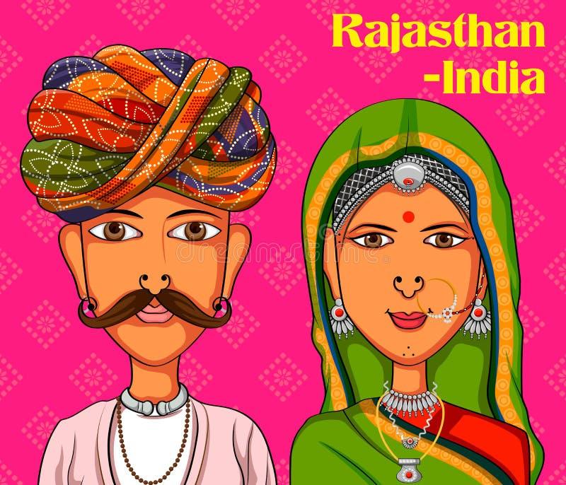 Coppie di Rajasthanii in costume tradizionale del Ragiastan, India royalty illustrazione gratis