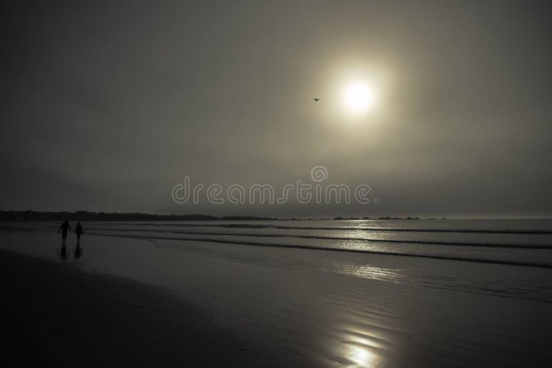 Coppie di Silhoutted che camminano sulla spiaggia nebbiosa immagine stock libera da diritti