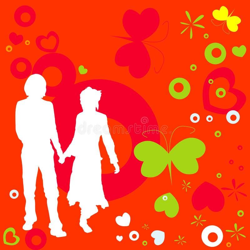 Coppie, disegno del biglietto di S. Valentino illustrazione di stock